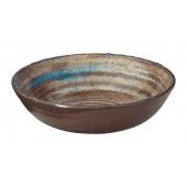 """Merritt International Melamine Glazed Brown Swirl 8"""" Round Bowl"""