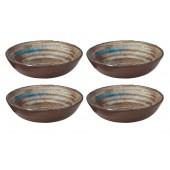 """Merritt Melamine Glazed Brown Swirl 8"""" Round Bowl 4 Pack"""
