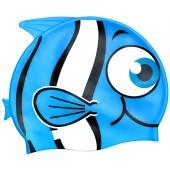 Little Buddy Silicone Swimcap for Children - Blue fish design